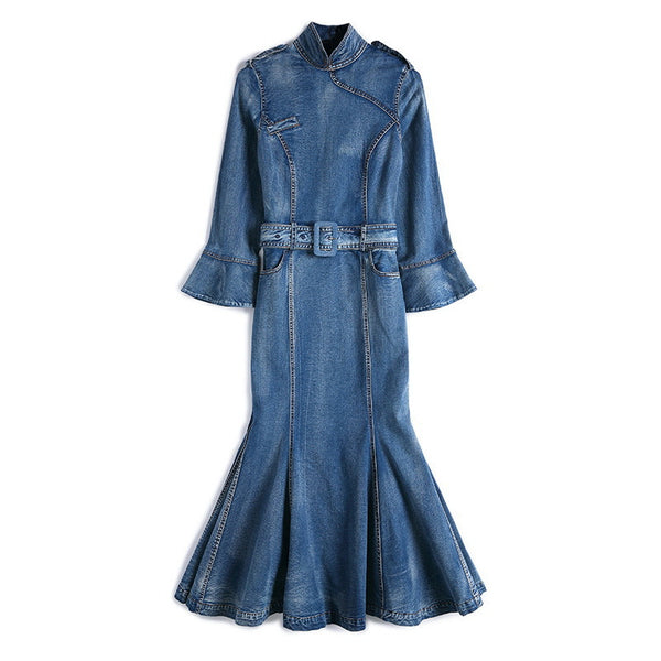 Denim belted peplum dresses - Fancyever