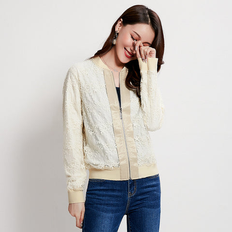 Mock neck embroidered zipper jackets