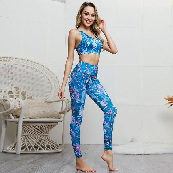 Tropical print compression active top & bottom sets