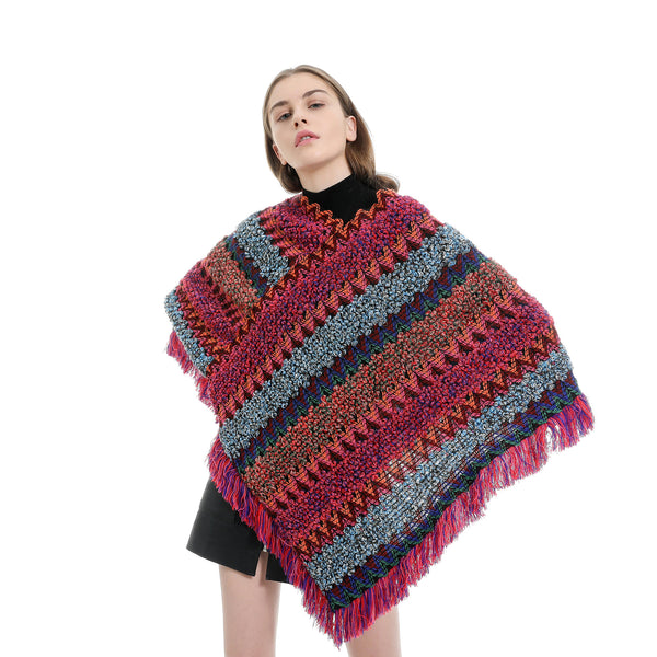 Color-blocked herringbone ponchos