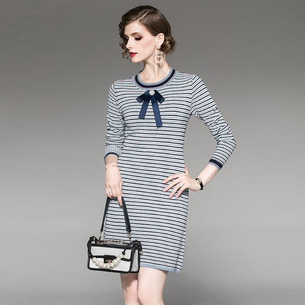 Striped bowknot knitted bodycon dresses