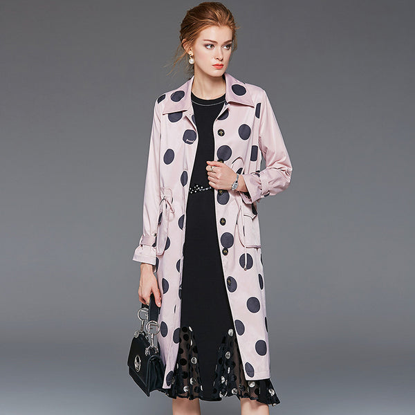 Polka dot drawcord lapel trench coats - Fancyever