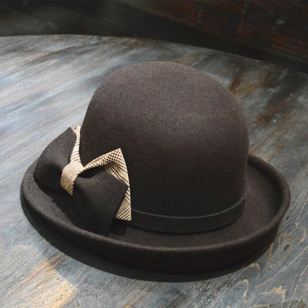 French plaid woolen trilby hats
