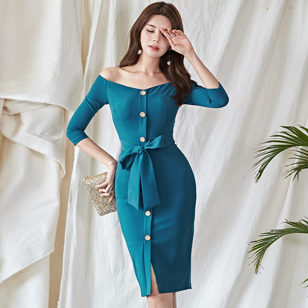 Off the shoulder buttoned wrap bodycon dresses - Fancyever