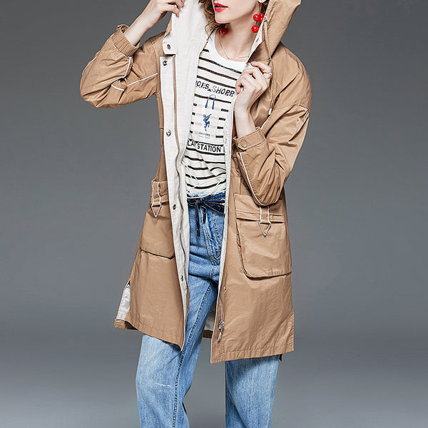 Hooded gathered waist trench coats - Fancyever