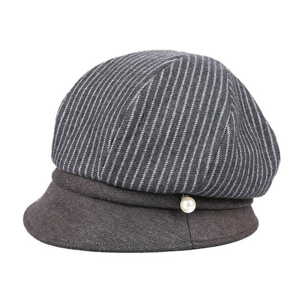 Striped casual newsboy caps