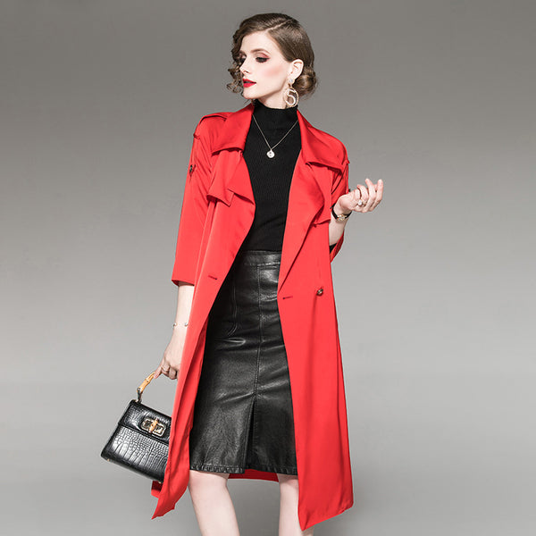 Turn-down collar belted long trench coats