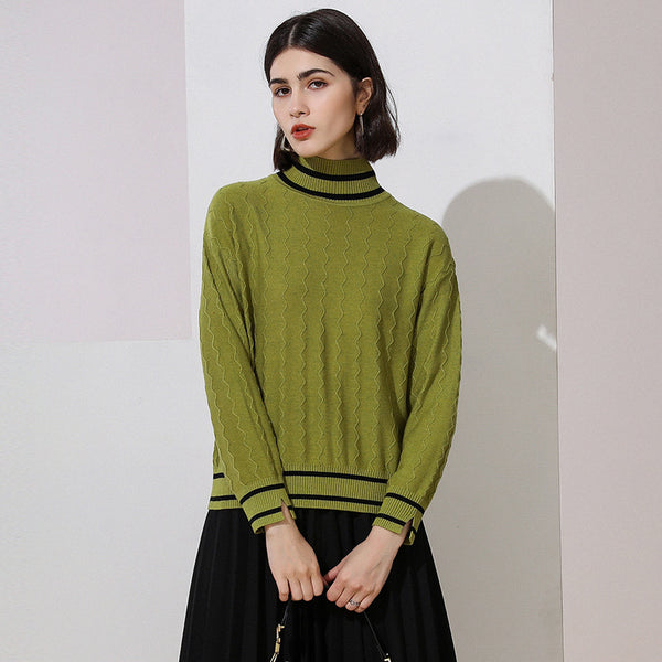 High neck color-blocked sweaters - Fancyever