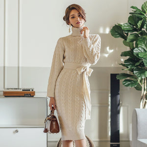 Bowknot cable-knit sweater dresses - Fancyever