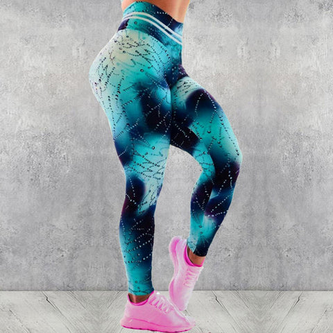 Water drop print high waisted active pants