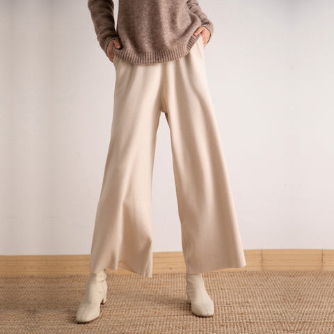 Solid color knitted wide leg pants