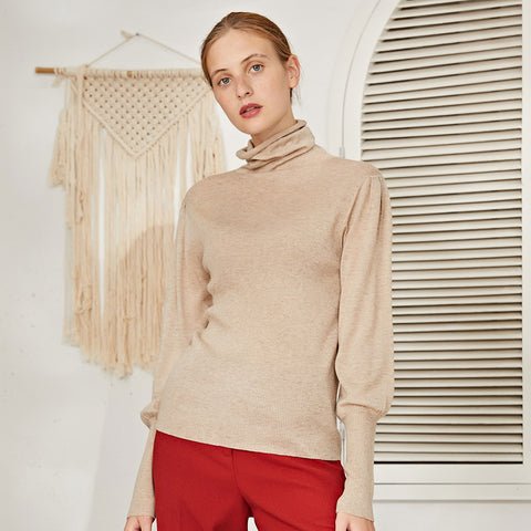 Cowl neck lantern sleeve sweaters - Fancyever