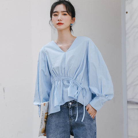 V-neck drawstring blouses