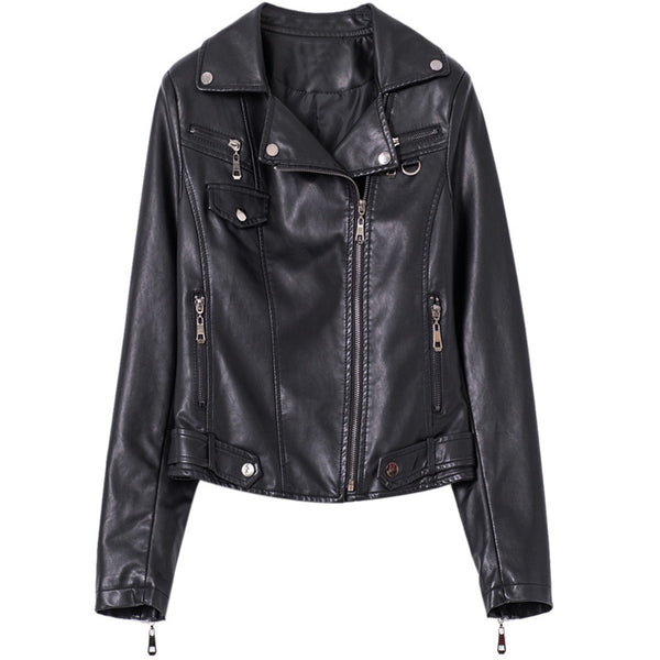 Zipper faux leather moto biker jackets - Fancyever