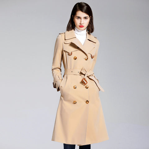 Khaki double-breasted belted trench coats