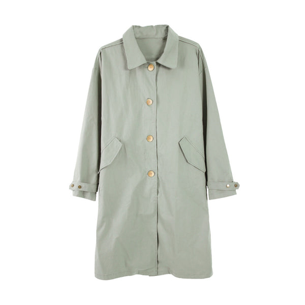 Lapel single-breasted loose trench coats - Fancyever