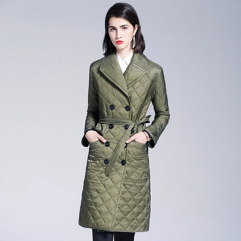 Wide lapel belted slim quilted coats