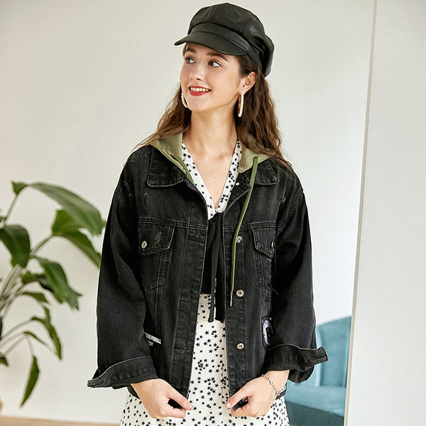 Hooded patchwork denim jackets - Fancyever