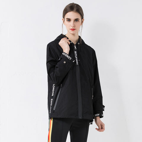 Letter print hooed zipper jackets - Fancyever