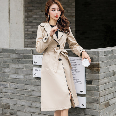 Color-blocked belted wide lapel trench coats