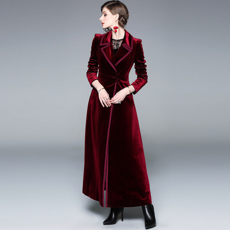Velvet turn-down collar trench coats