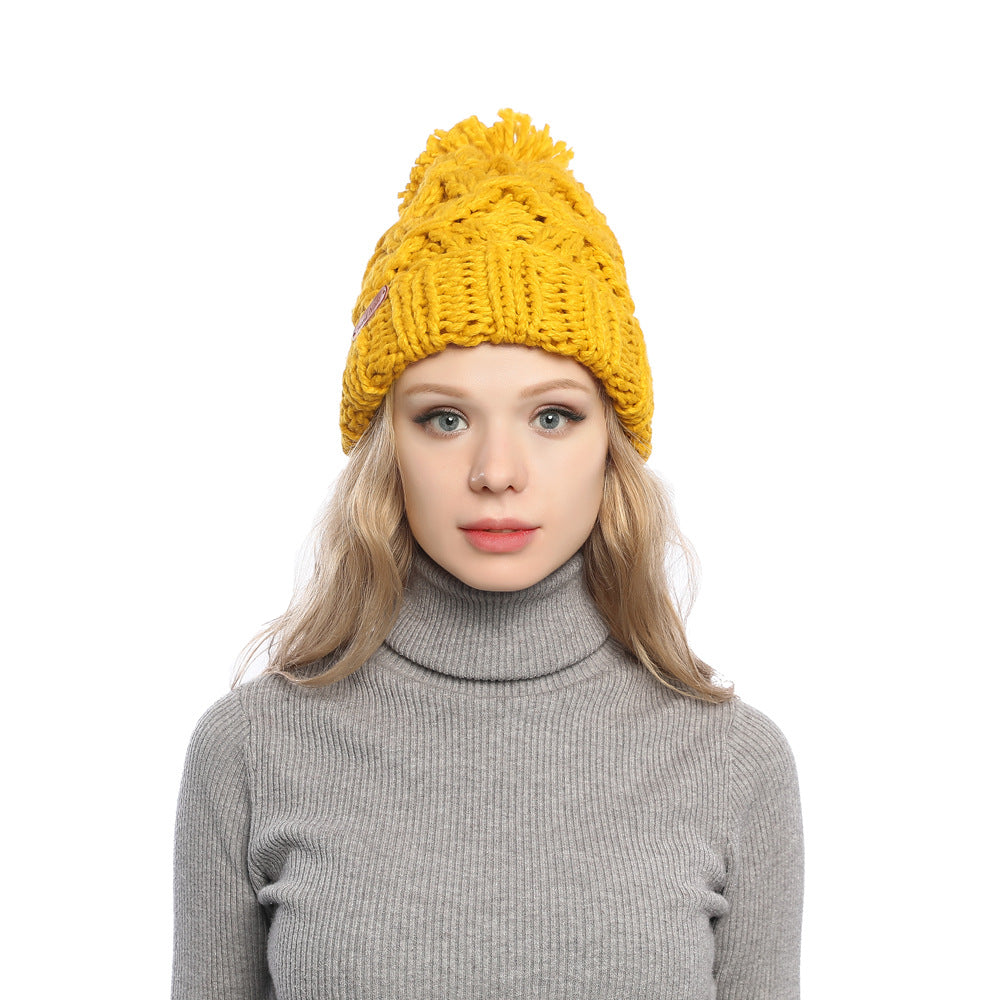 Plush knit hats with faux fur pom - Fancyever