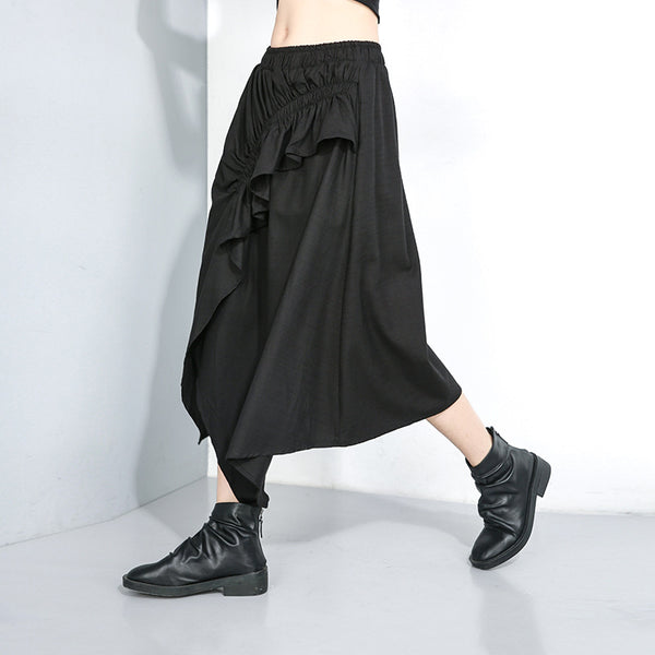 Solid color irregular midi skirts
