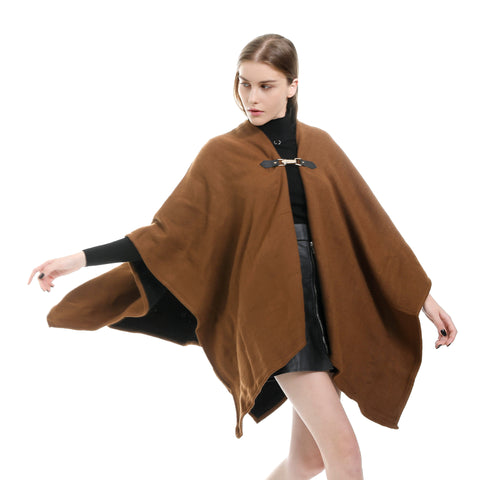 Caramel buckled knit ponchos - Fancyever