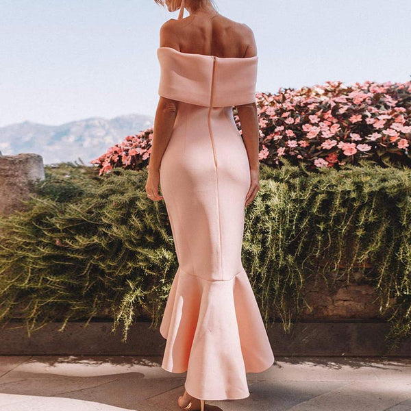 Off-the-shoulder solid peplum formal dresses