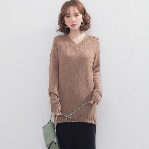 Pure color v-neck knit sweaters - Fancyever