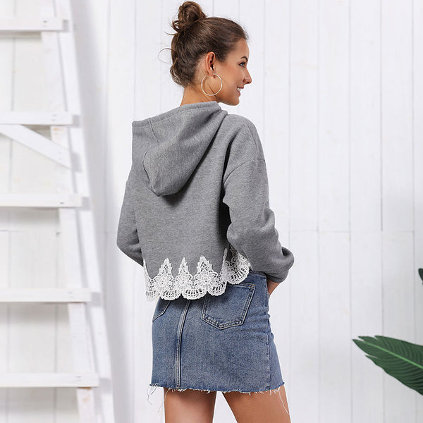 Lace patchwork crop hoodies - Fancyever