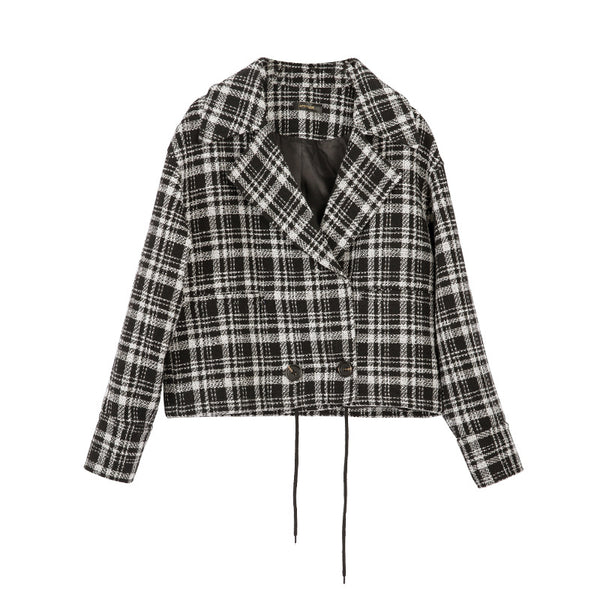 French notched tweed plaid blazer jackets