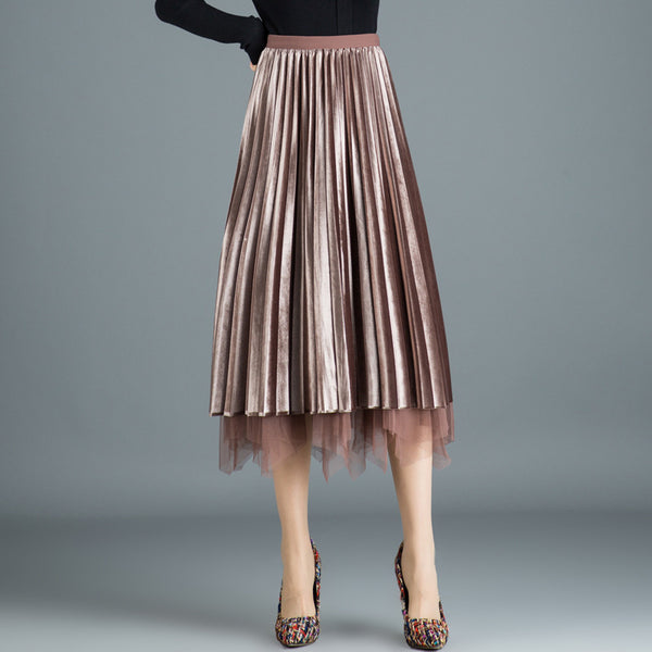Velvet mesh layered midi skirts