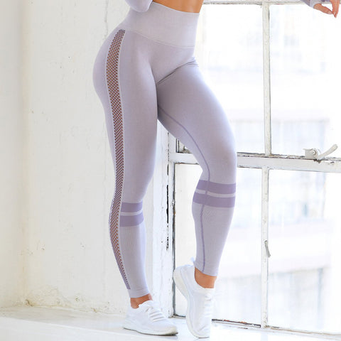 Patchwork mesh high waist yoga pants