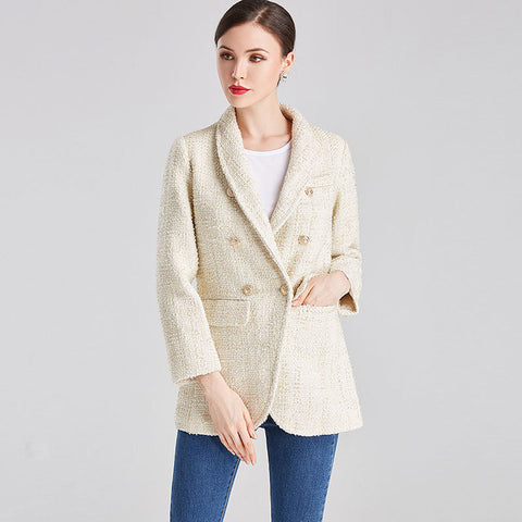 Tweed double breasted blazers - Fancyever