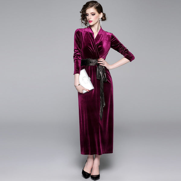 Empire waist v-neck velvet maxi dresses