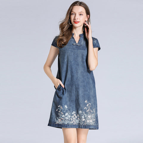 V-neck embroidered mini denim dresses - Fancyever