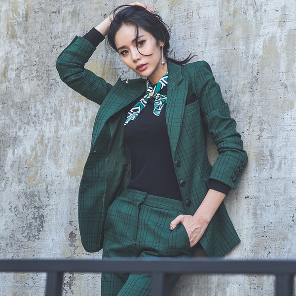 Large lapel plaid blazer pant suits