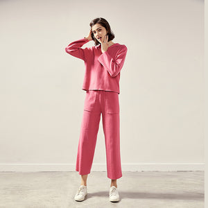 Pink knitted hoodie &palazzo?pants - Fancyever