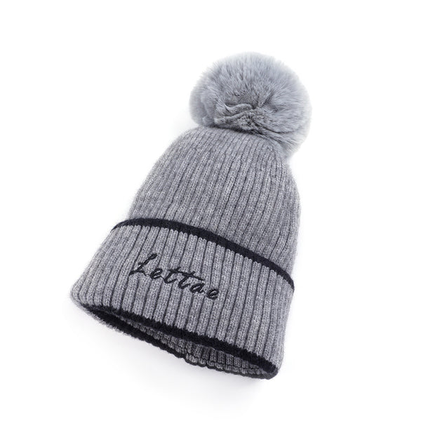 Letter print knit hats with faux fur pom - Fancyever