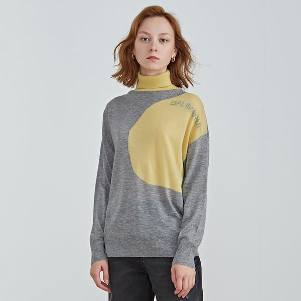 Turtleneck color blocked knitted sweaters