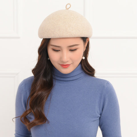 Pure color wool felt beret hats