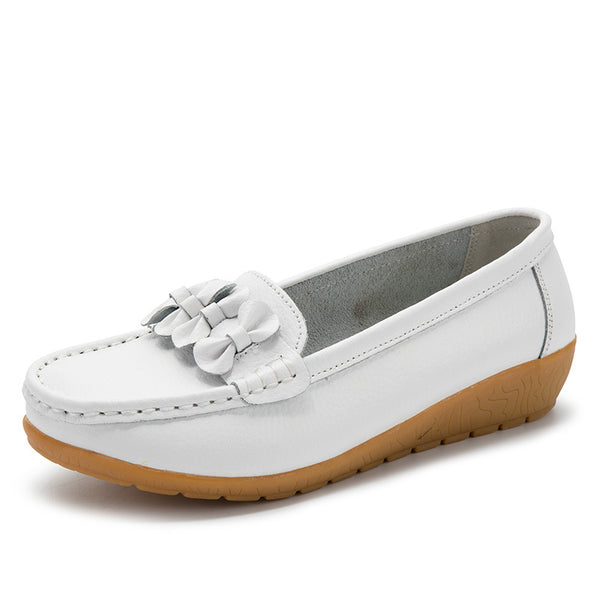 Soft leather bowknot boat shoes loafers