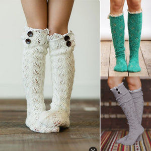 3 pairs lace cable knit stockings