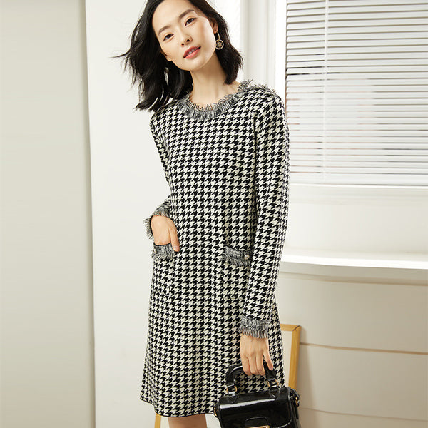 Houndstooth fringed shift sweater dresses - Fancyever