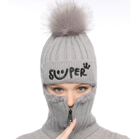 Winter ski mask hats with faux fur pom