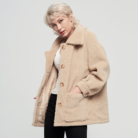 Single-breasted fleece lapel short coats