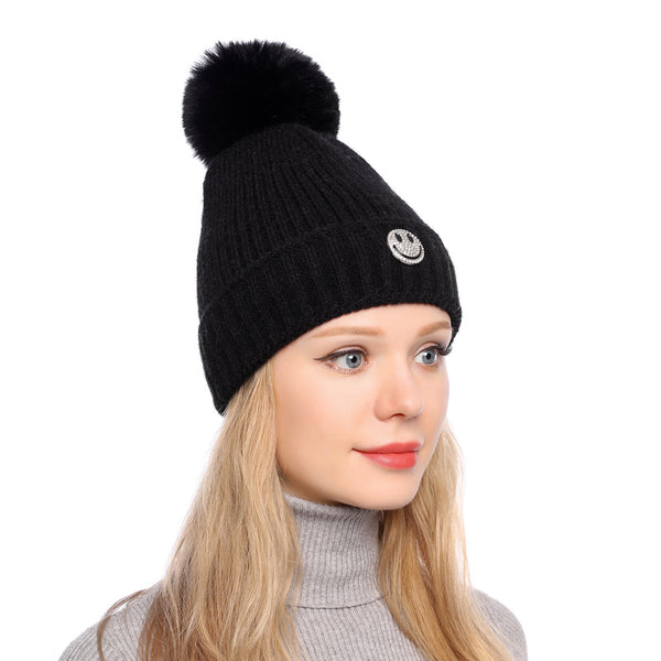 Smile face knit hats with faux fur pom
