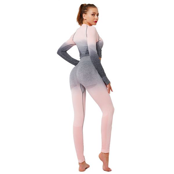 Crew neck gradient ramp active suits