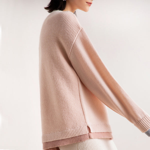 Color-blocked crew neck pullover sweaters